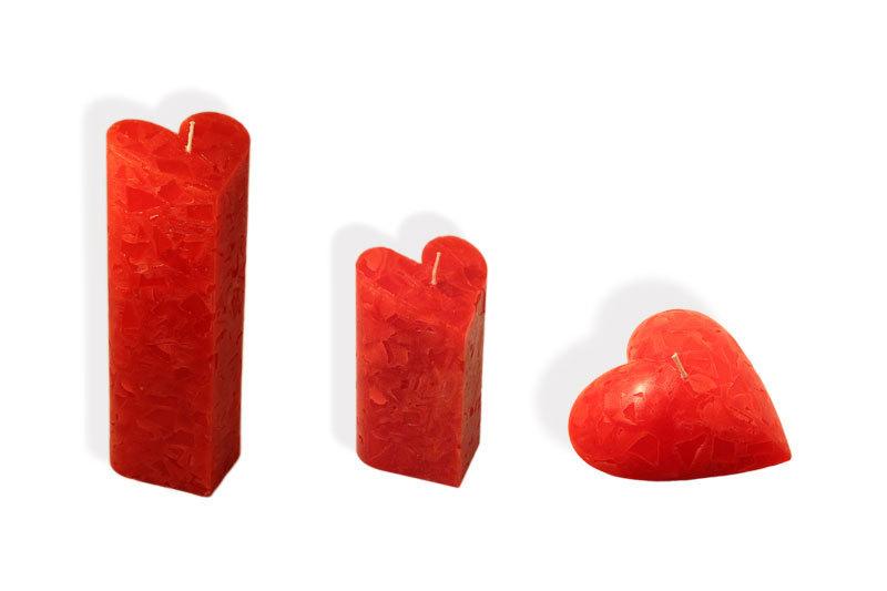 Kerzen Set in Herzform 3 verschiedene Herzkerzen Herz