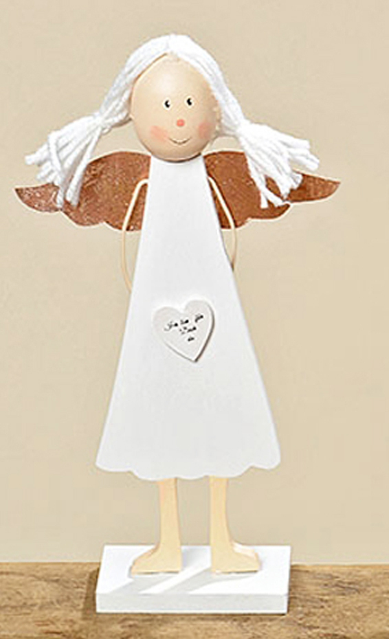 Engel Aufsteller mit Herz Schutzengel Dekoration Holz weiß