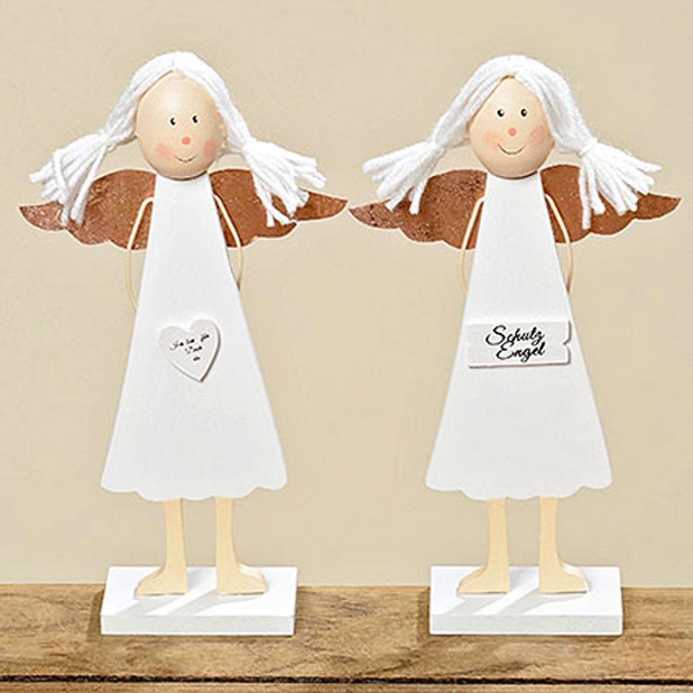 Engel 2er Set Aufsteller mit Herz Schutzengel Dekoration Holz weiß