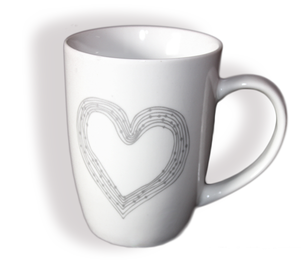 Tasse Kaffeebecher Kaffeetasse Becher Teetasse - mit Herz Design Porzellan