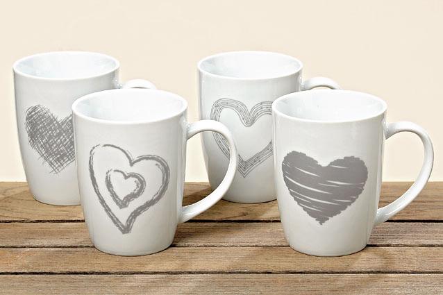 Tassen 4er Set Kaffeebecher Kaffeetasse Becher Teetasse - mit Herz Design Porzellan