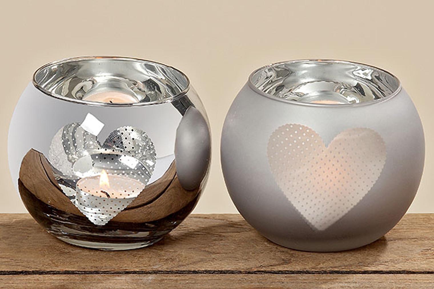 Windlichtglas 2er Set Teelichthalter Windlicht Tischdeko Herz