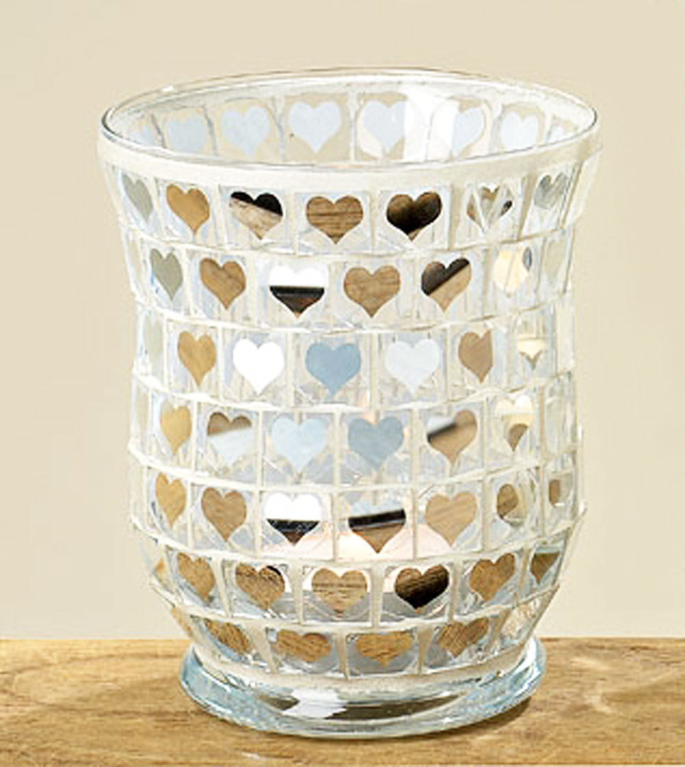 Windlichtglas Teelichthalter Windlicht Tischdeko Mosaik Herzen