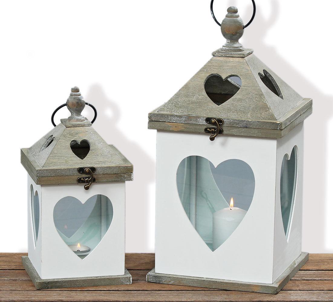 Laterne mit Herz 2er Set Windlicht Holz Gartendeko Shabby Kerze Teelicht