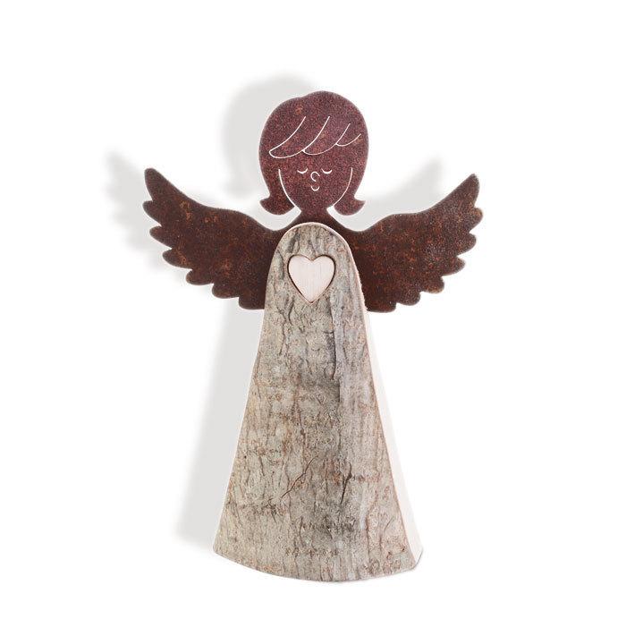 Engel Aufsteller mit Herz Schutzengel Dekoration Holz mit Rinde natur
