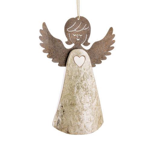 Engel Hänger mit Herz Schutzengel Dekoration Holz mit Rinde natur
