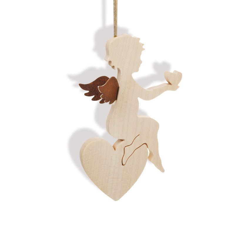 Engel mit herz schutzengel dekoration holz ahorn engelsfl gel - Schutzengel basteln aus holz ...