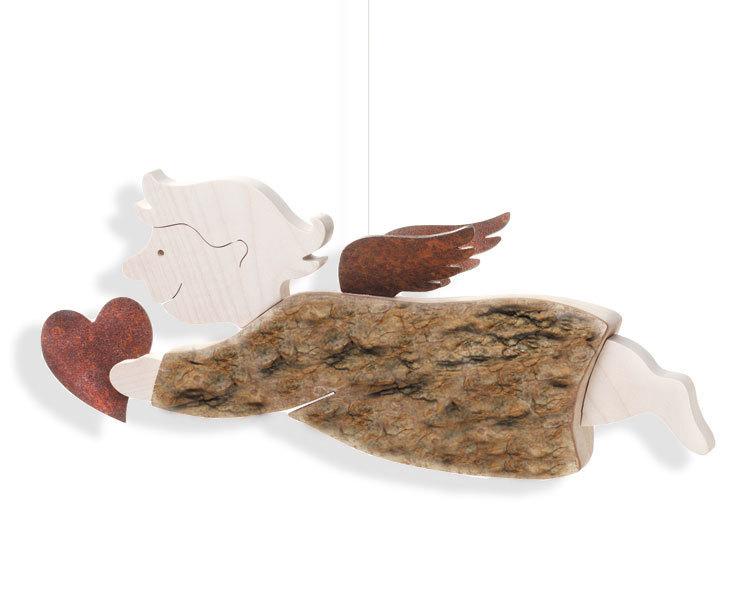 Großer Engel Hänger XXL mit Herz Schutzengel Dekoration Holz mit Rinde natur