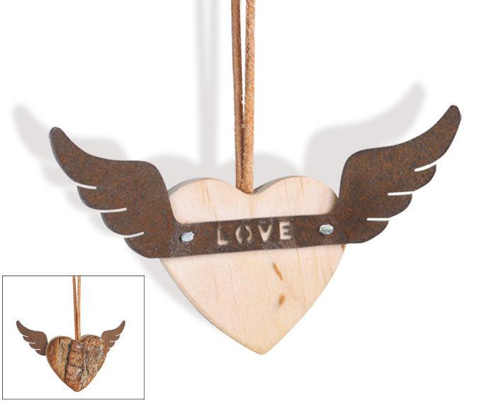 Herzanhänger Holz Love - Herz Laubholz Flügel Rost Metall