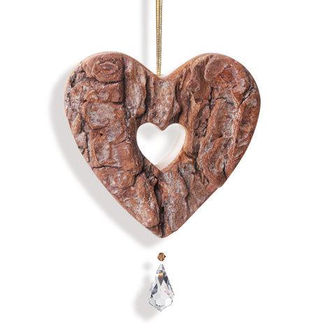 Herzanhänger Holz mit Kristall - Herz in Herz mit Rinde