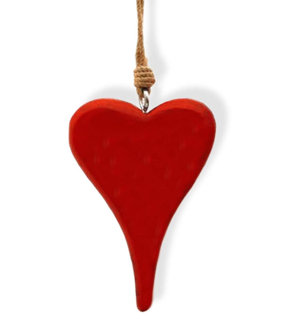 Herzhänger Dekohänger Herz aus Holz rot lackiert