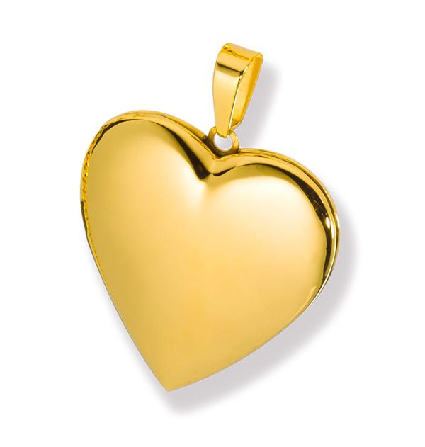 Medaillon hochglanz Herz Edelstahl für 2 Fotos Anhänger Amulett