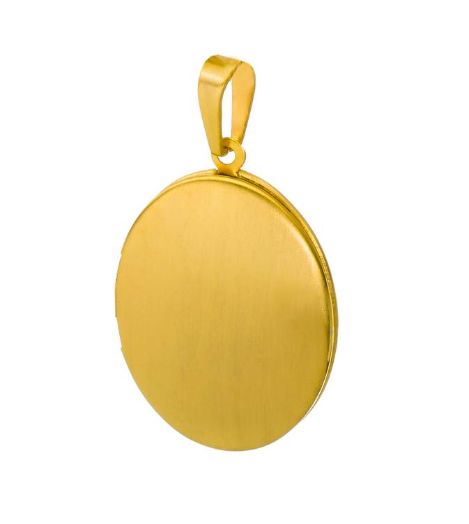 Medaillon oval mattiert Edelstahl für 2 Fotos Anhänger Amulett-PVD Gold
