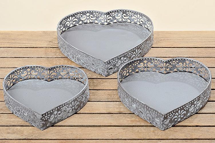 Tablett 3er Set grau Stahlblech Schalen in Herzform
