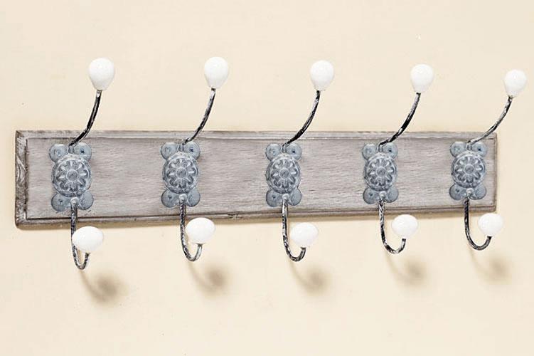 Garderobenhaken Hakenleiste Shabby Holz Metall Kleiderhaken
