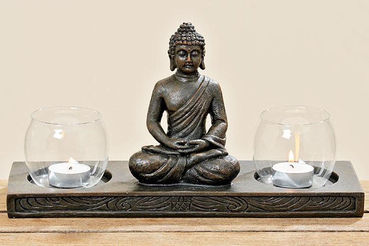 Buddha Windlichthalter Teelichthalter Objekt Aufsteller Teelicht