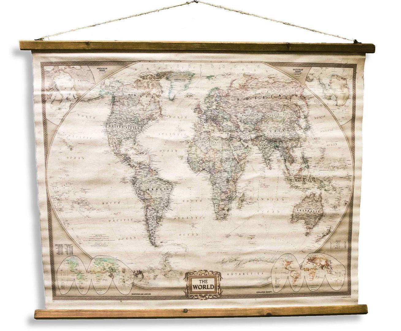 Mapamundi Estilo Antiguo Mapa de pared del lino Foto en lienzo