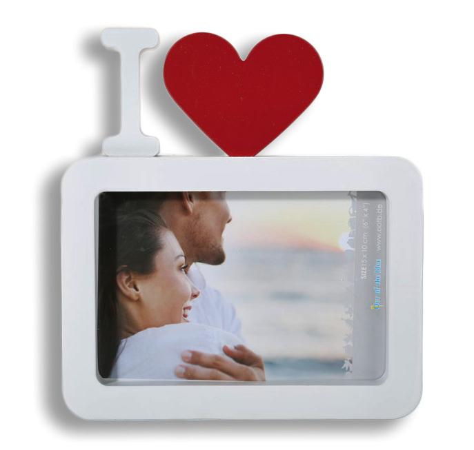 Bilderrahmen Fotorahmen weiß mit rotem Herz I love ...