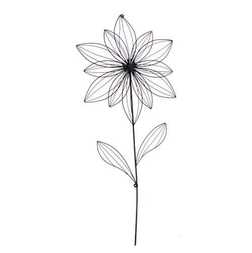 wanddeko wanddekoration blume metall schwarz wandbild. Black Bedroom Furniture Sets. Home Design Ideas