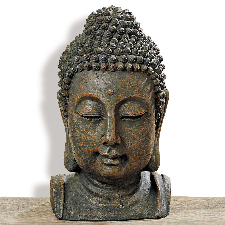 buddha kopf statue figur skulptur asia feng shui aufsteller ebay. Black Bedroom Furniture Sets. Home Design Ideas