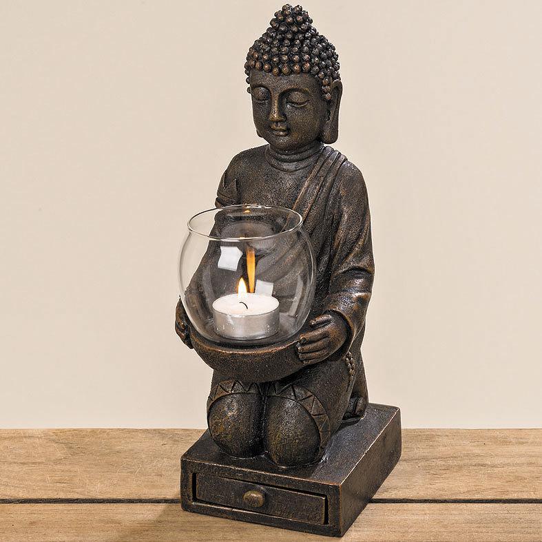 buddha windlichthalter teelichthalter objekt aufsteller teelicht in bronzeoptik ebay. Black Bedroom Furniture Sets. Home Design Ideas