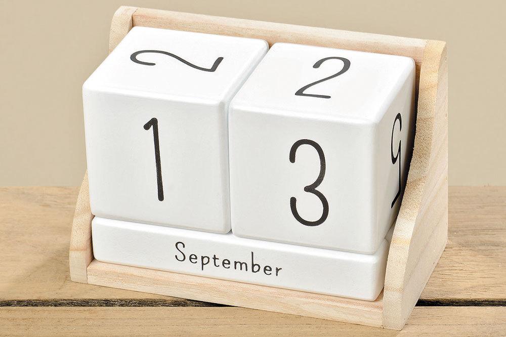 kalender dauerkalender ewiger kalender holz shabby wei natur. Black Bedroom Furniture Sets. Home Design Ideas