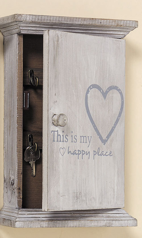 schl sselkasten schl sselbox grau shabby ablage aus holz mit herz happy place. Black Bedroom Furniture Sets. Home Design Ideas