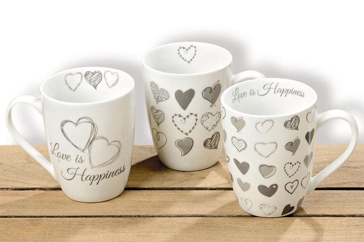 Tassen 3er Set Kaffeebecher Kaffeetasse Becher Teetasse - mit Herz