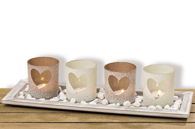 Windlicht Set Teelichtglas Herz Windlicht Tischdeko + Holztafel mit Dekosteinen