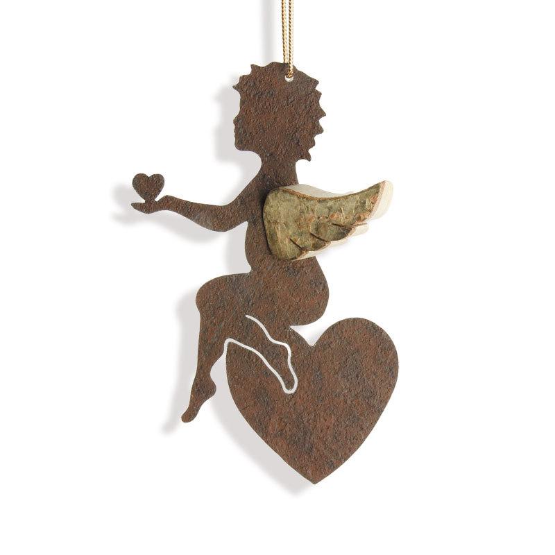 Engel Hänger mit Herz Schutzengel Dekoration Holz Metall Rost Engelsflügel