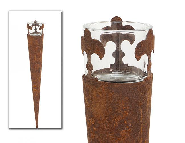 Windlicht Gartenfackel Mit Glashalter F R Teelicht Oder