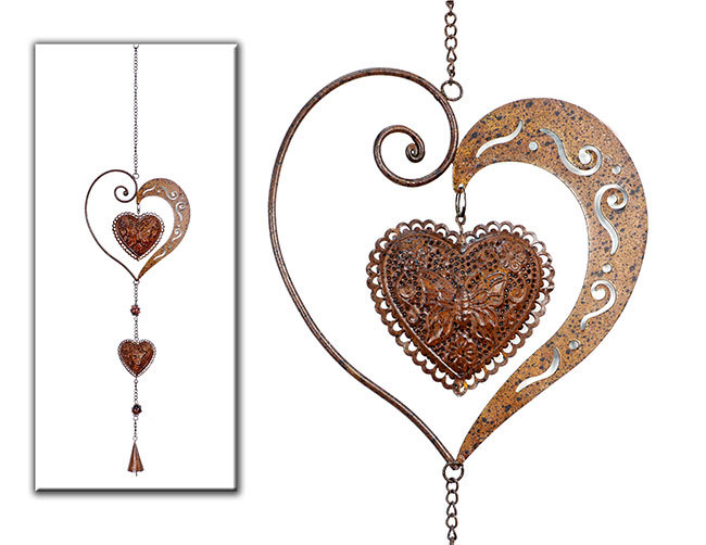 Heart ornaments metal decorative pendant rust window