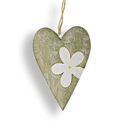 Herzhänger Metallherz Metall Herz Dekoanhänger mit  Blume Fensterhänger