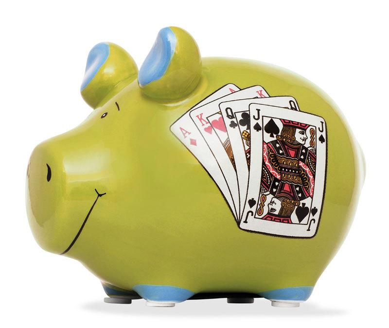 Sparschwein Spielkasse Spielkarten Spardose Sparbüchse Keramik Geldgeschenk