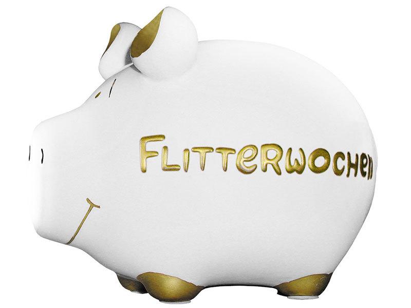 Sparschwein Flitterwochen Spardose Sparbüchse Keramik Geldgeschenk