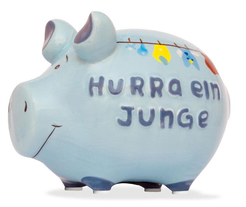 Sparschwein Geburt Hurra ein Junge Spardose Sparbüchse Keramik Geldgeschenk