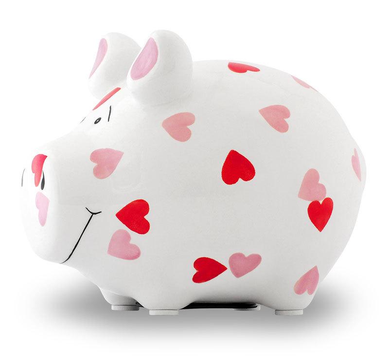 Sparschwein mit Herzen Spardose Sparbüchse Keramik Geldgeschenk