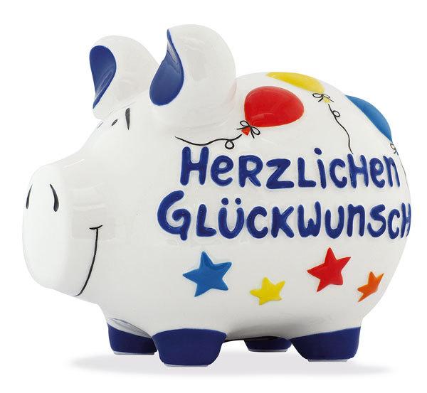 Sparschwein Herzlichen Glückwunsch Spardose Sparbüchse Keramik Geldgeschenk