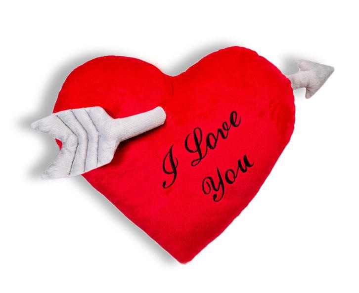 Herz Kissen - Plüschkissen - Kissenherz rot  mit Pfeil Herzkissen