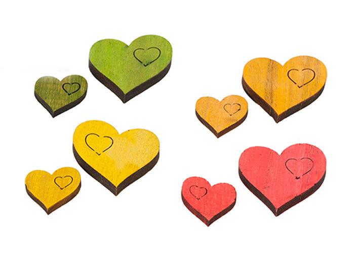 Streudekoration Herz Holzherzen Tischdeko Liebe Hochzeit 4 Farben im Set