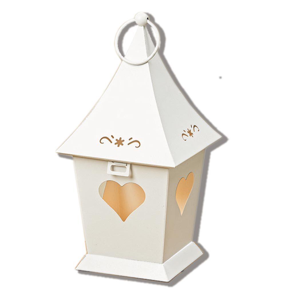 Windlicht - Laterne aus Metall weiß mit Herz Fenster - für Teelicht oder Kerze