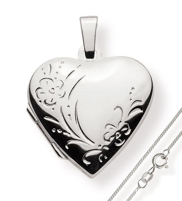 Medaillon 925 Silber Herz zum öffnen für Bildereinlage/ 2 Fotos Amulett mit Kette