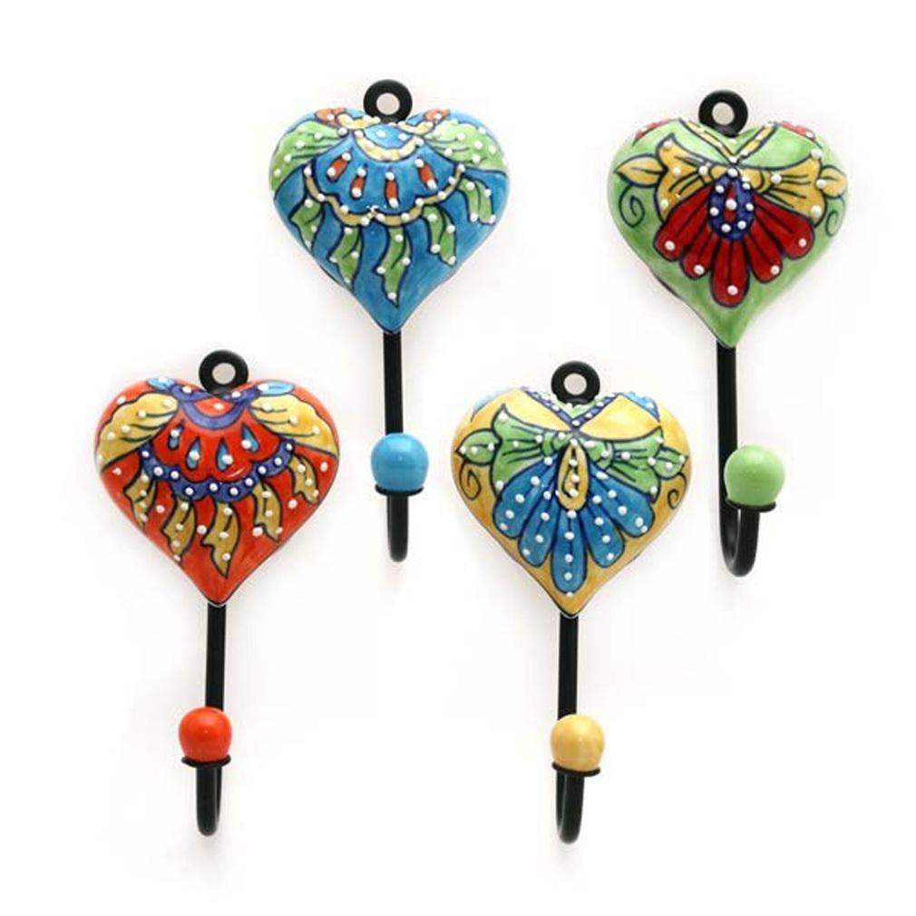 4 Garderobenhaken Kleiderhaken Handtuchhaken mit Herz Herzen Metall - Keramik