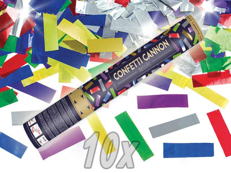 Konfetti Shooter bunte Folien Konfetti 10 Stück Party Popper Kanone 60 cm Karneval