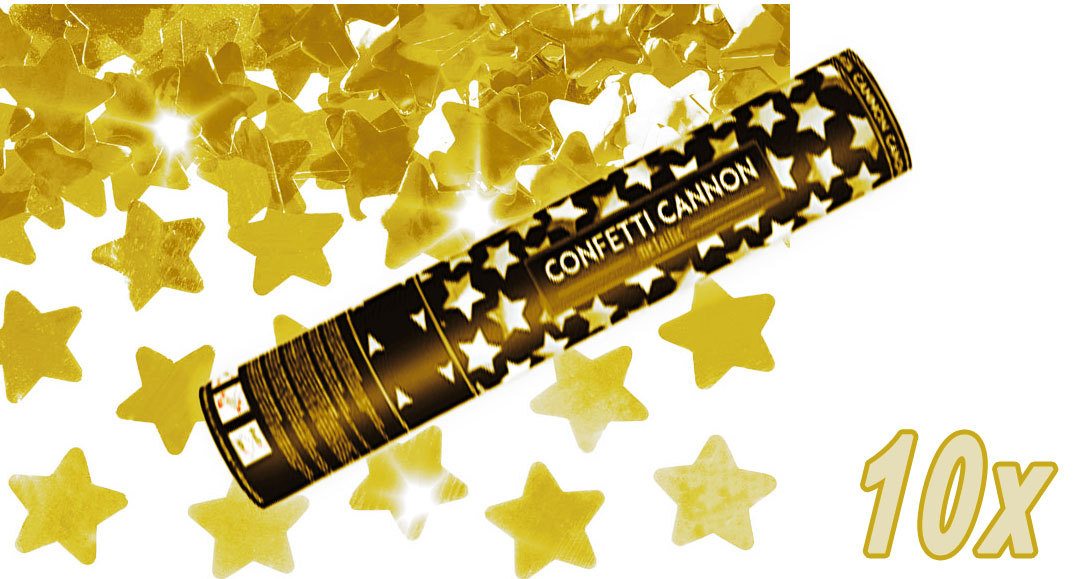 Konfetti Shooter 10 Stück Party Popper goldene Sterne Stern Konfetti Kanone 40 cm
