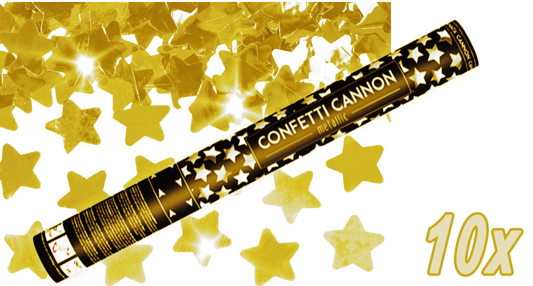 Konfetti Shooter 10 Stück Party Popper goldene Sterne Stern Konfetti Kanone XXL 60 cm