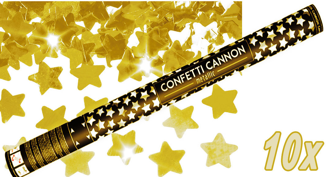 Konfetti Shooter 10 Stück Party Popper goldene Sterne Stern Konfetti Kanone XXL 80 cm