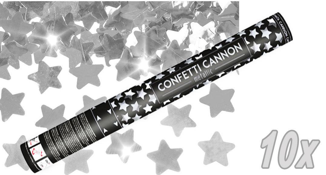 Konfetti Shooter 10 Stück Party Popper silber Sterne Stern Konfetti Kanone XXL 60 cm