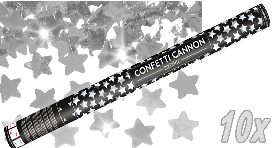 Konfetti Shooter 10 Stück Party Popper silber Sterne Stern Konfetti Kanone XXL 80 cm