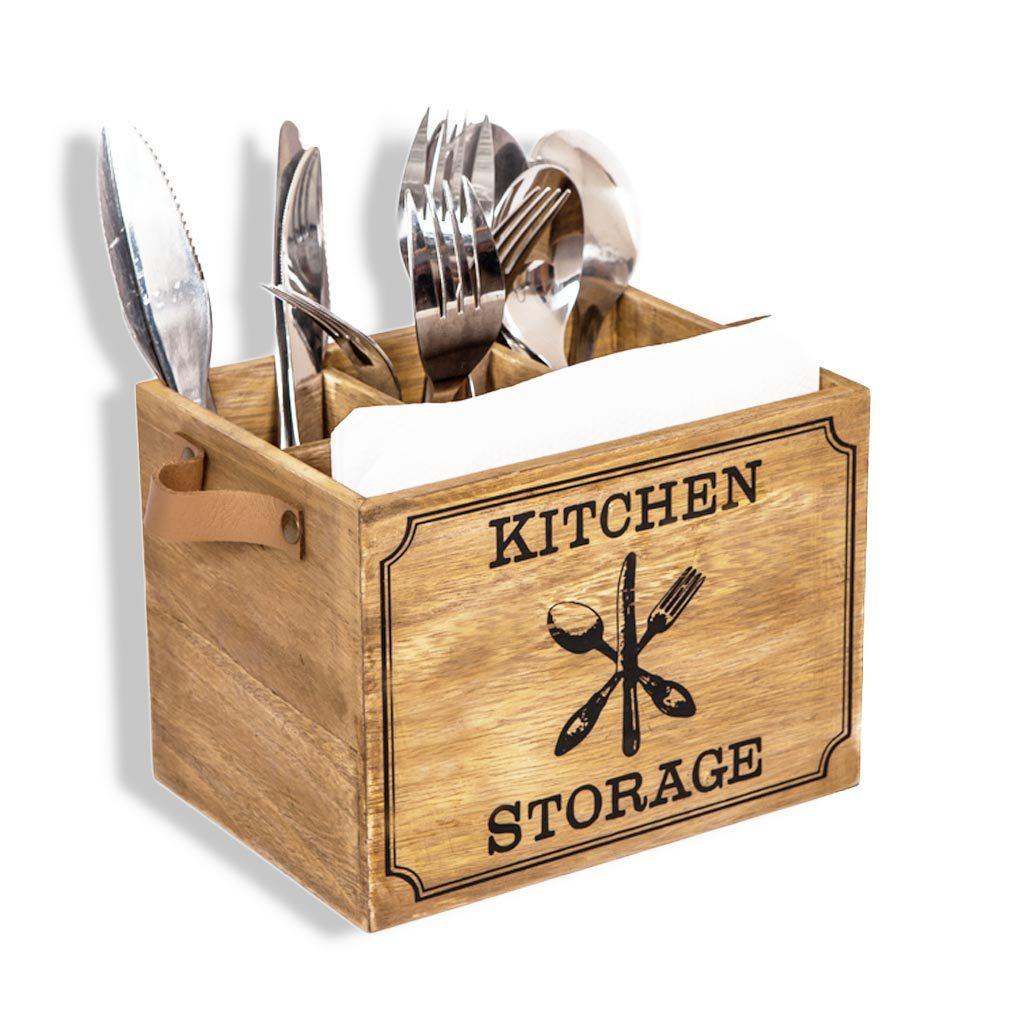 Holz Besteckkorb,Besteckbox, Besteckkasten für Besteck Löffel Gabel Messer Besteckbox shabby-antik